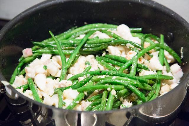 vihreät pavut, hauki, lämmin salaatti