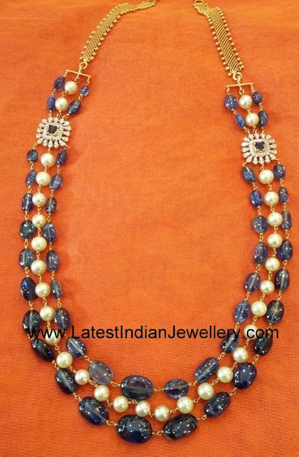 Tanzanite Beads and Pearls Mala