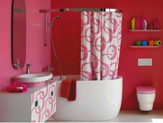 Pretty Feminine Pink Modern Bathroom Interior Design Ideas