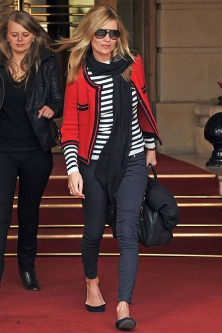 Kate Moss stylish street style red blazer and striped top outfit