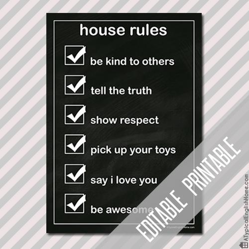 house rules printable