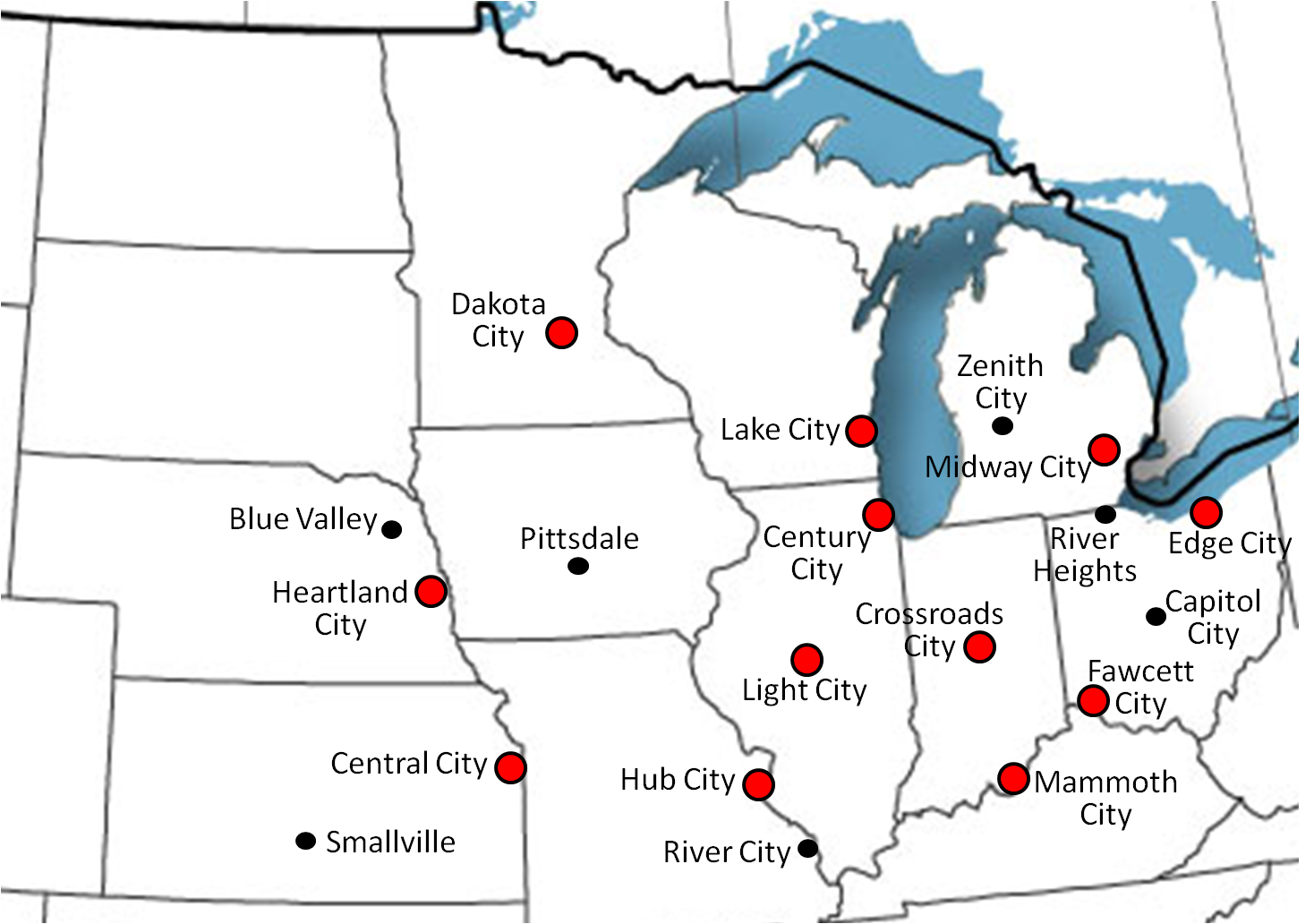 Alien Robot Zombies Atlas Of Fictional Cities In The United States - Us map of midwest states