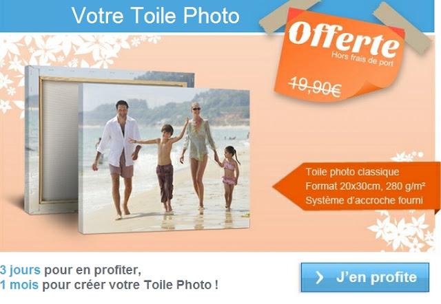 1 Toile Photo Classique format 20x30cm gratuite hors frais de port bon plan tableau photo gratuit