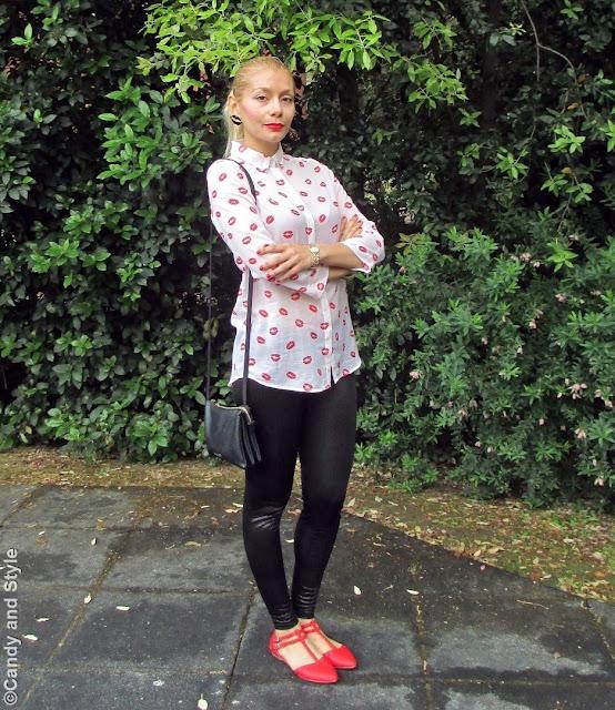 LipsShirt+LeatherLeggings+PointedFlats+TrioBag+HighPonytail+RedLips - Lilli Candy and Style Fashion Blog