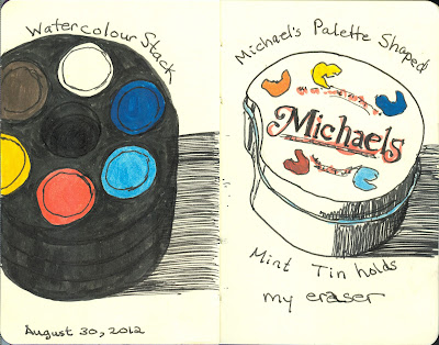Watecolour Stack and Kneaded Eraser Container -  Pen and Ink with Watercolour by Ana Tirolese ©2012