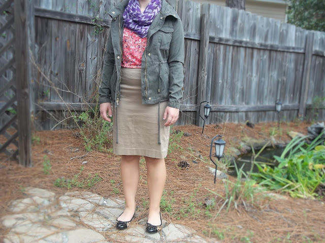 military jacket comfort zone pencil skirt floral top chevron scarf leopard flats pattern mixing outfit inspiration