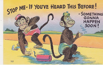 c1950 MONKEY'S playing with Dynamite humor Postcard w/o postage or correspondence  vgood condition