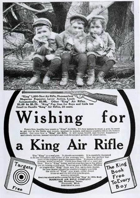Propaganda dos Rifles King nos anos 30 para crianças.