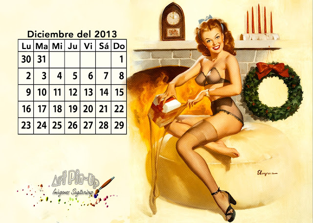 Fondo de pantalla | Calendario de Diciembre del 2013 - Gil Elvgren