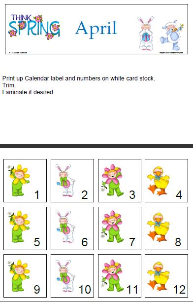 April Calendar Numbers : Learn curriculum april calendar numbers