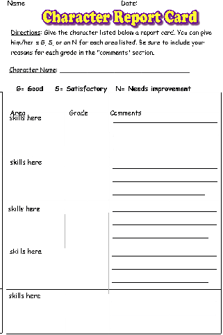 book character report card Character report card--love this idea---among the hidden is a great book to coincide with teaching about government, citizens' rights and responsibilities character report card--love this idea students could also write a letter to the character's parents about how the character behaves.