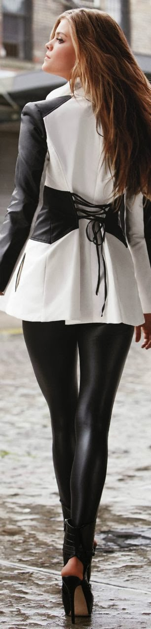 Black and white leather combo