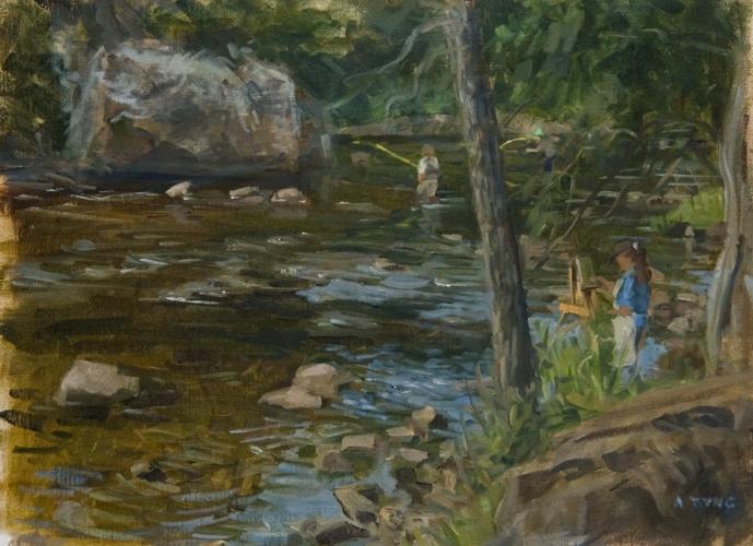 Omaž ribolovcu i ribolovu FB_Tyng_Painting+and+Fishing%252C+Ausable+River+11x15.5