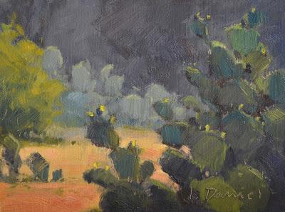 Budding Cactus, 6 x 8, oil on panel, L. Daniel © 2013