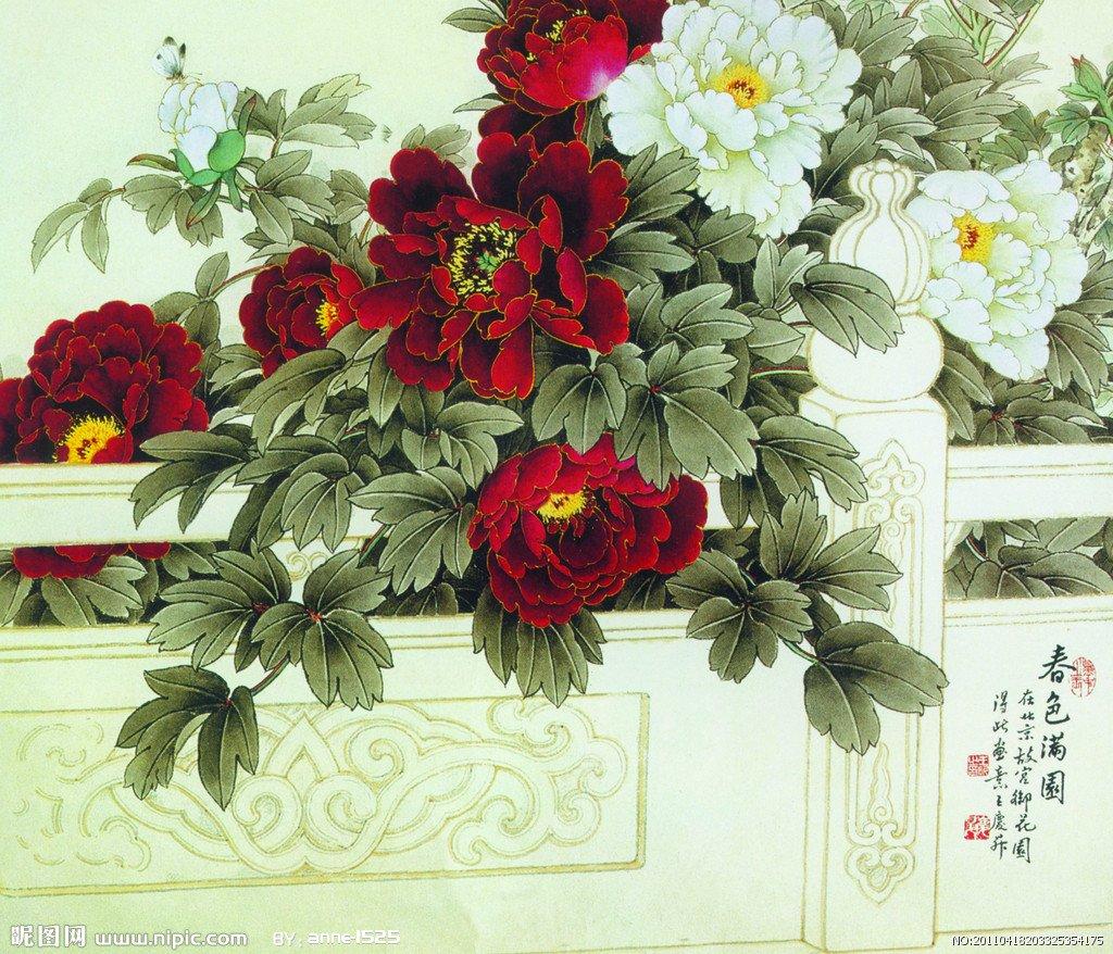 Китайские открытки цветы