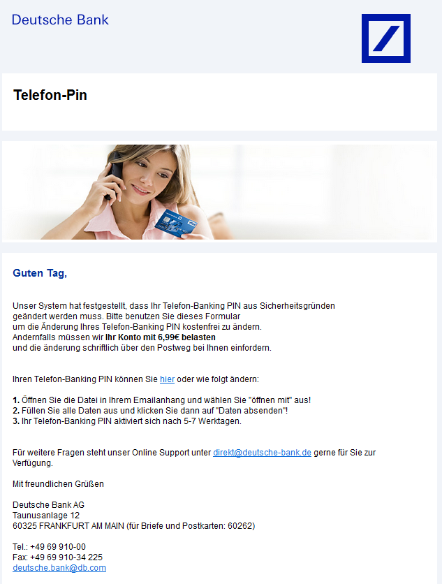 phishing mail alerts deutsche bank telefon banking. Black Bedroom Furniture Sets. Home Design Ideas