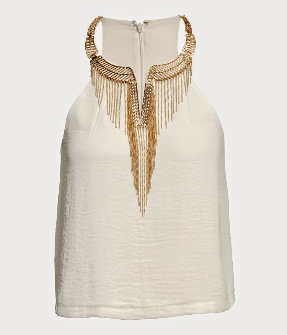 white gold hm top, white top with gold necklace