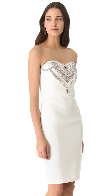 Marchesa Notte Embroidered Faille Ivory Dress