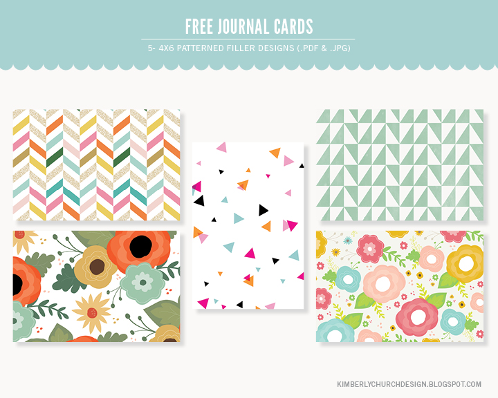 Kimberly Church || Free Project Life 4x6 Patterned Cards