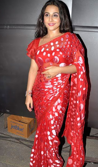 Pretty Vidya Balan in polka dot saree