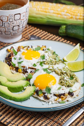 Corn and Black Bean Huevos Rancheros with Roast Zucchini Salsa on ...