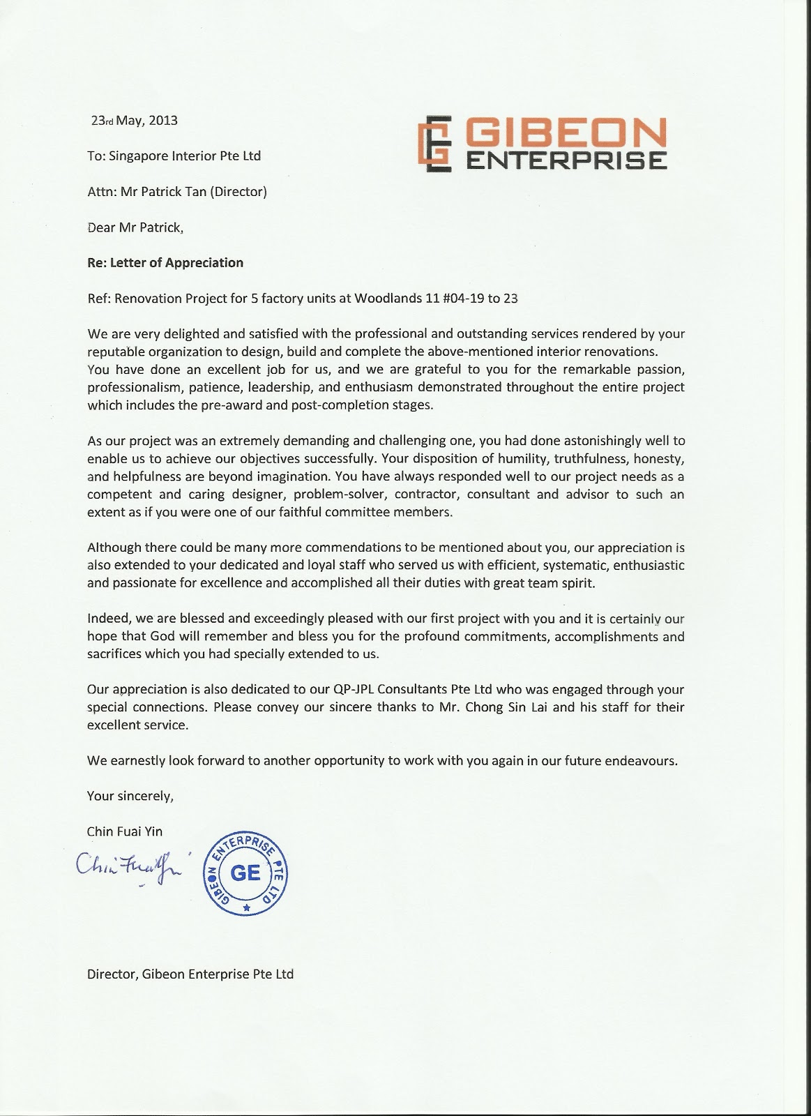 Testimonial From Gibeon Enterprise