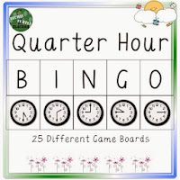 http://www.teacherspayteachers.com/Product/Telling-Time-to-the-Quarter-Hour-Bingo-25-Different-Game-Boards-1028951