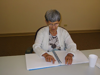 Marie Dambrosky reading Braille, August 2008