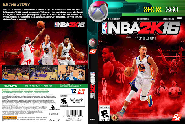 Capa NBA 2K 16 Xbox 360