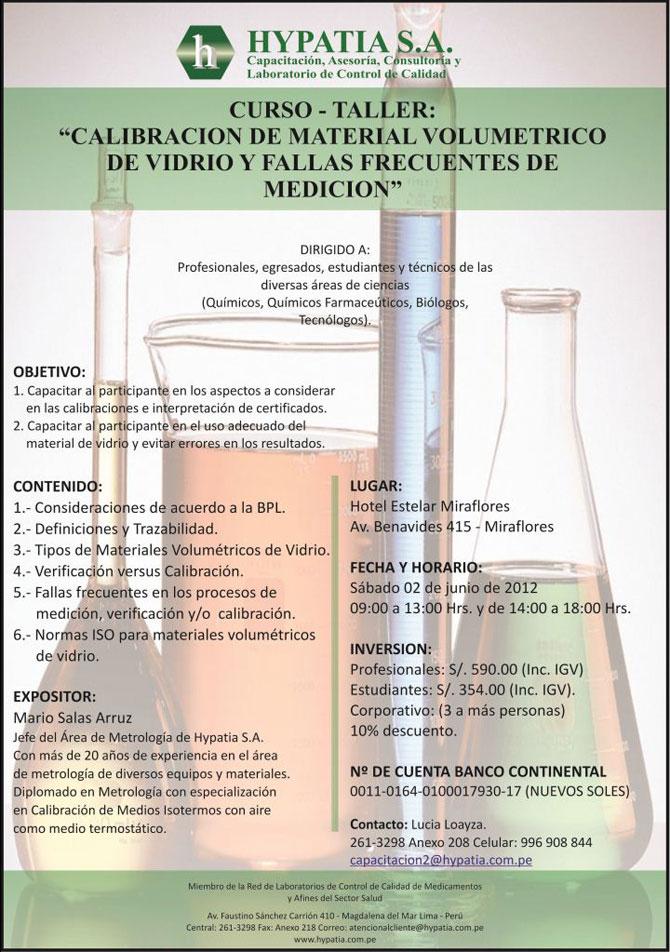 CURSO DE CALIBRACIONDEMATERIALVOLUMETRICODEVIDRIOYFALLASFRECUENTESDEMEDICION