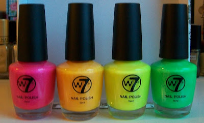 W7 fluorescents - pink, orange, yellow and green