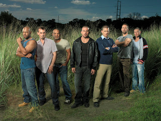 season 1 main cast. C-Note, T-Bag, Sucre, Burrows, Scofield, Abruzzi and Tweener