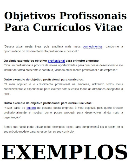 objetivo profissional curriculo