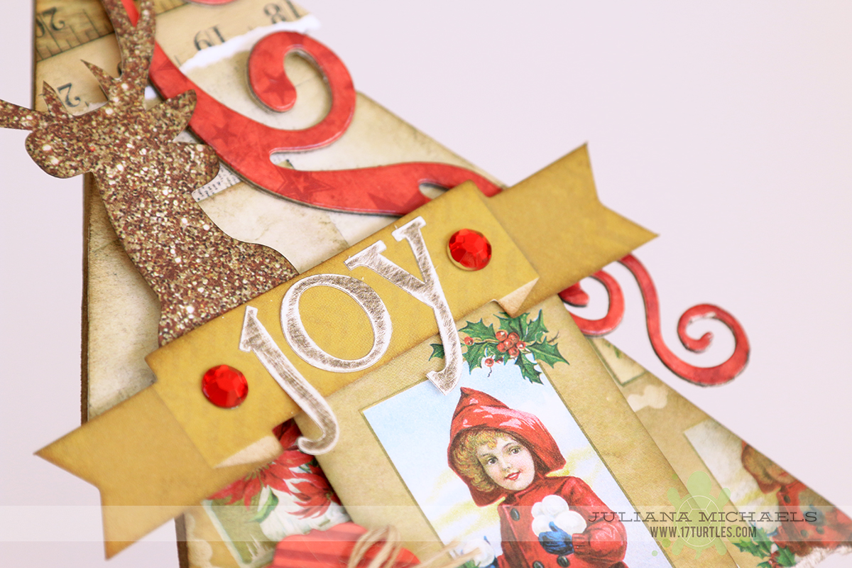 Joy Christmas Tree Christmas Decor by Juliana Michaels for BoBunny featuring Christmas Collage and Double Dot Jewels