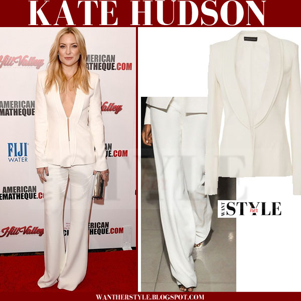 Kate Hudson in white jacket and white wide leg trousers brandon maxwell what she wore red carpet