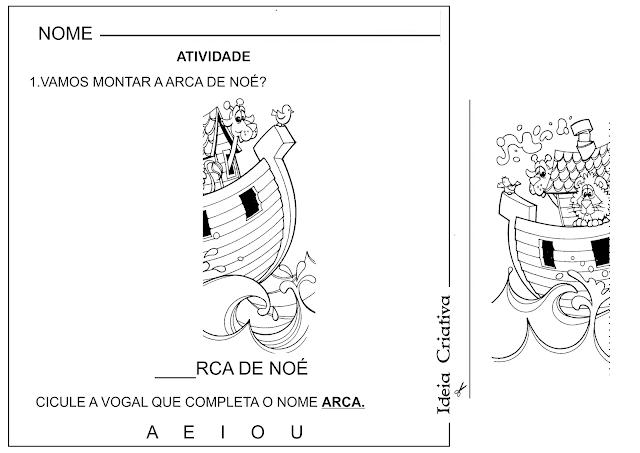 Atividade Arca de Noé Corte e Recorte Educativo e Vogais