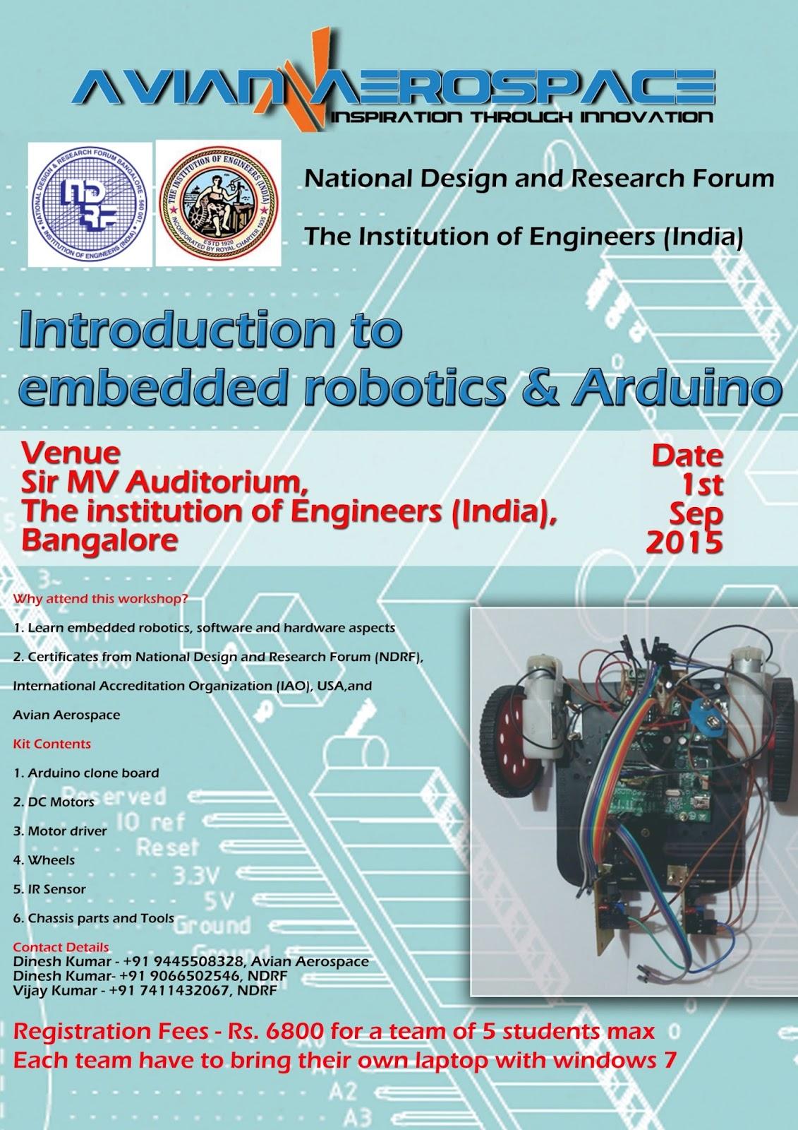 Workshop on embedded robotics and arduino avian aerospace