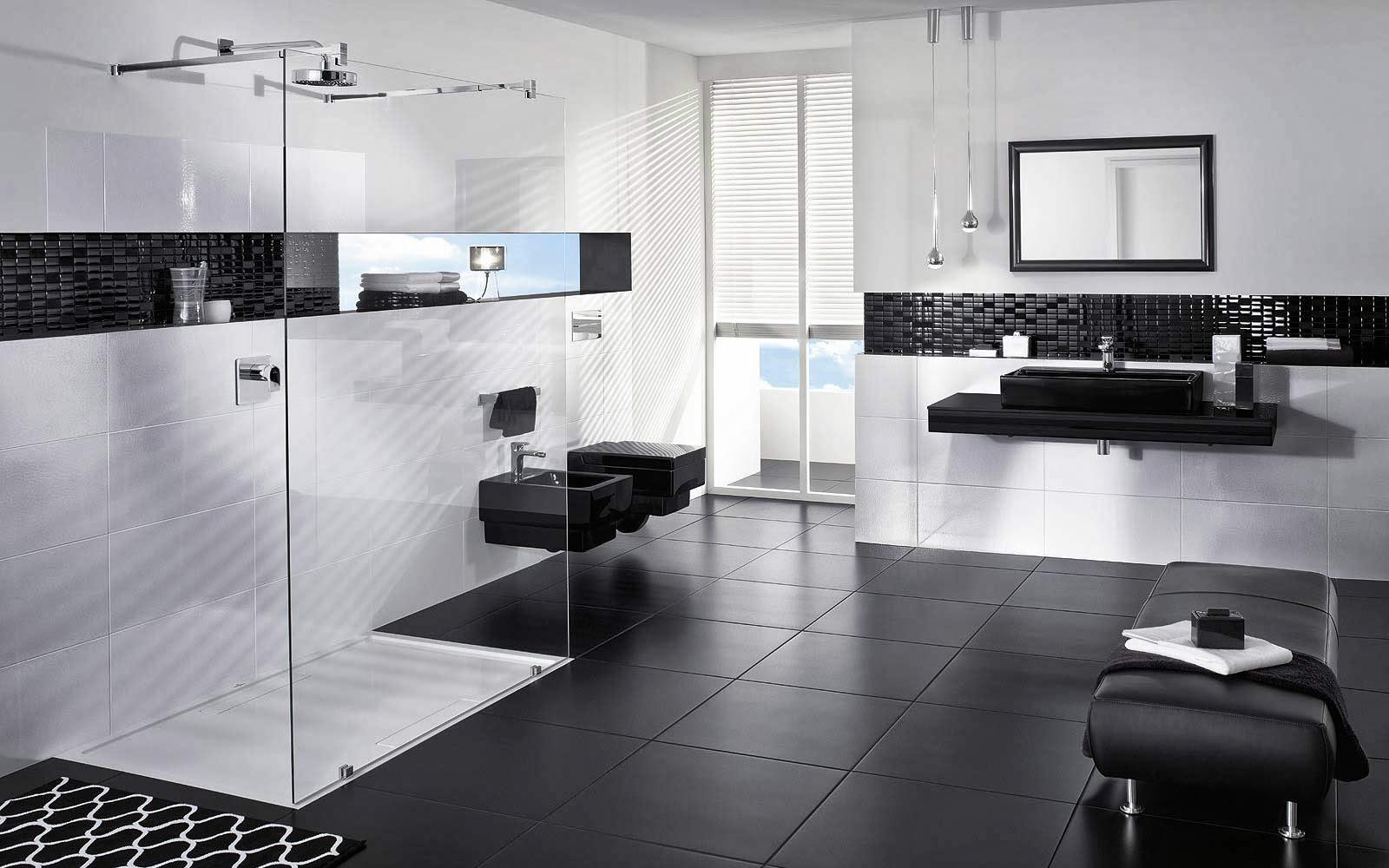 Imagenes De Baños Con Ceramica Negra:Fotos de baños en blanco y negro – Colores en Casa