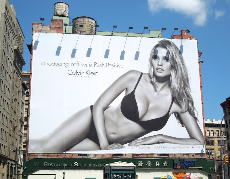 Calvin Klein Lara Stone Push Positive bra billboard NYC