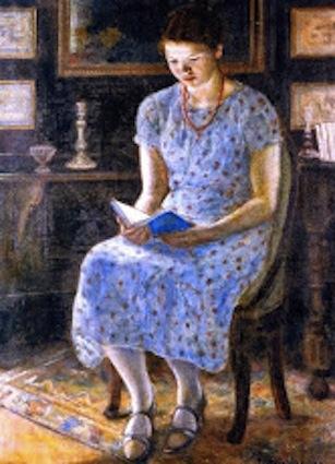 F C Frieseke. Blue Girl Reading