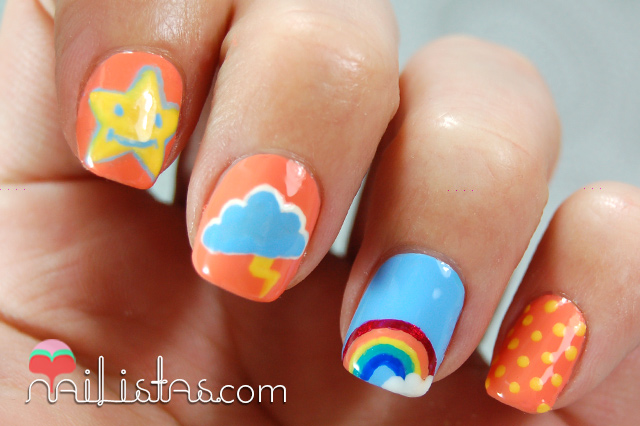 Uñas decoradas con arcoiris, nube y estrellas // Osos Amorosos