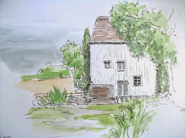 Ink and watercolour, Lode Mill, Anglesey Abbey National Trust