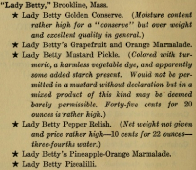 Lady Betty products in 1,001 Tests of Food, Beverages and Toilet Accessories, Good and Otherwise: Why They Are So