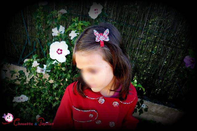 barrette papillon anti glisse fille en liberty betsy ann rouge pour veste agatha