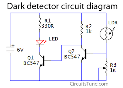 Dark detector circuit using LDR, LED | CircuitsTune