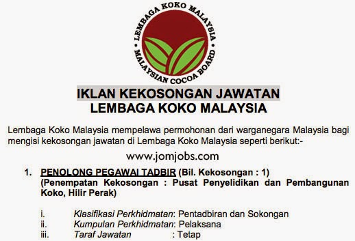 Iklan Kekosongan Jawatan Lembaga Koko Malaysia