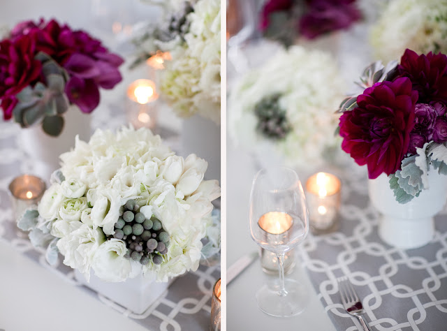 gray table runner wedding dahlias