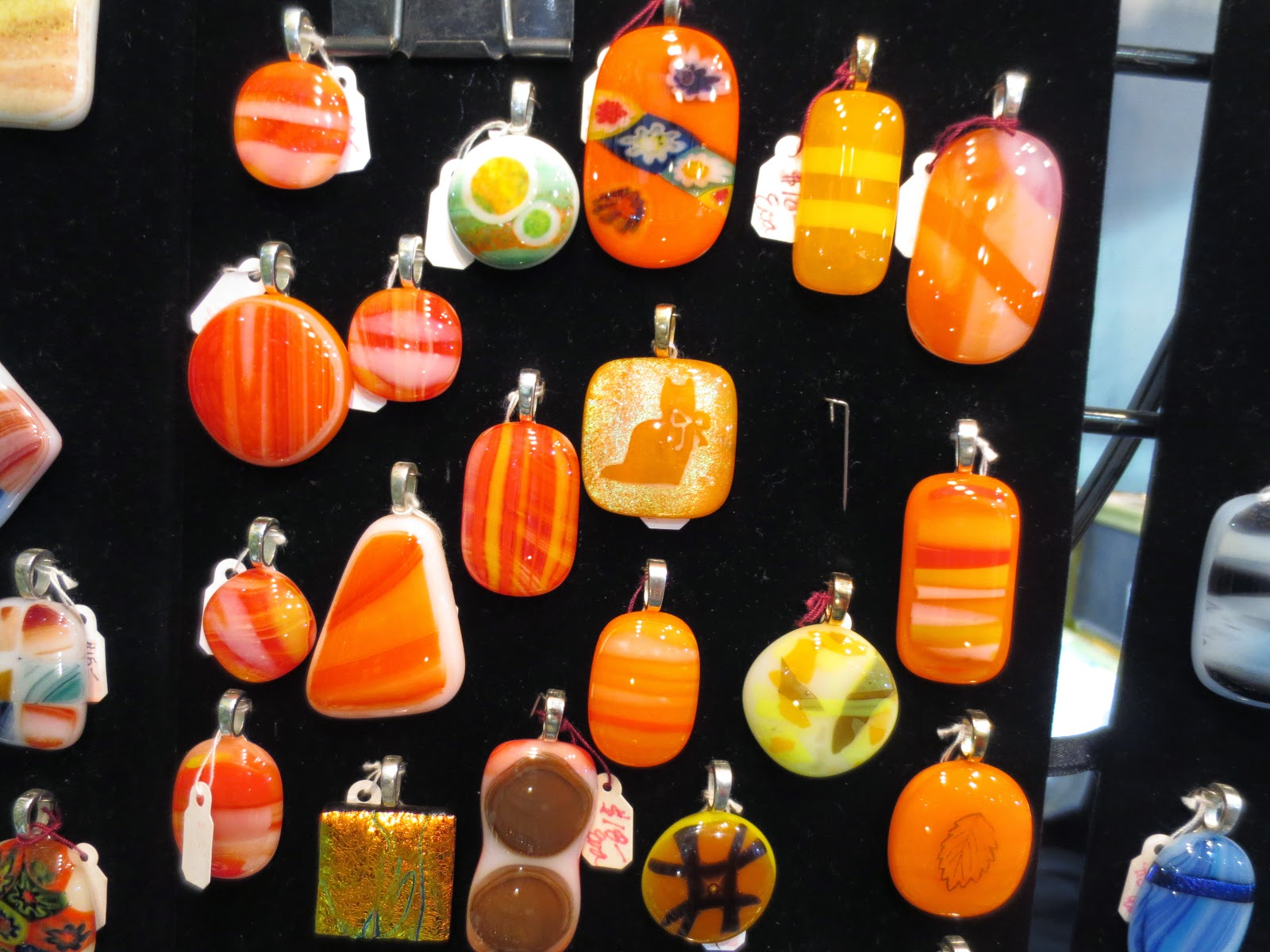 dichroic glass pendants orange