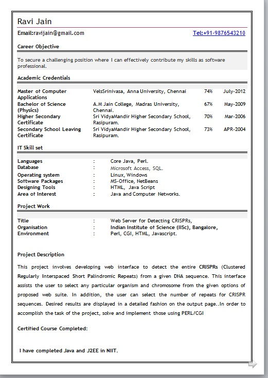 Resume format for finance freshers
