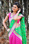 Pujitha sizzling in half saree-thumbnail-9